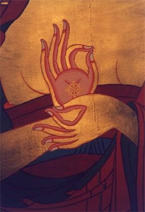 An old painting depicting a mudra