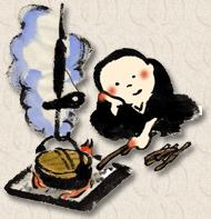 Japanese drawing of a monk tending to a fire with a cooking pot